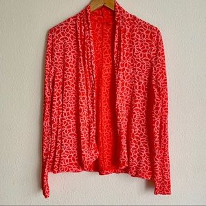Fresh produce open front floral print cardigan